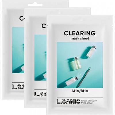 Тканевая маска с AHA/BHA кислотами для очищения пор L.SANIC AHA/BHA CLEARING MASK SHEET 25мл*3шт: фото