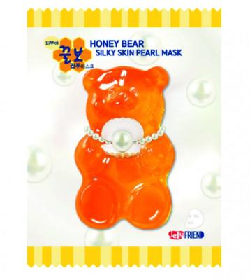 Тканевая маска с экстрактом жемчуга FRIENVITA JellyFrien Honey Bear Silky Skin Pearl Mask 23 г: фото