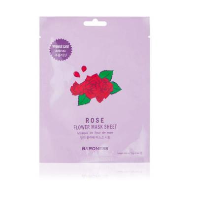 Тканевая маска увлажняющая с экстрактом розы BARONESS Rose Flower Mask Sheet 21 г: фото