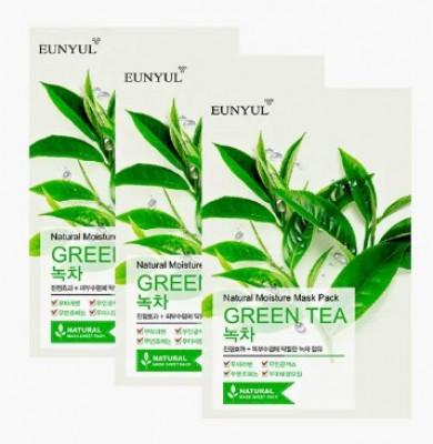 Набор тканевых масок с экстрактом зеленого чая EUNYUL NATURAL MOISTURE MASK PACK GREEN TEA 23мл*3 шт: фото