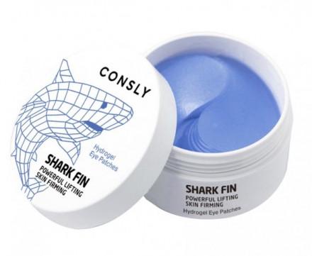 Патчи для глаз гидрогелевые с экстрактом акульего плавника CONSLY HYDROGEL SHARK FIN EYE PATCHES 60шт: фото