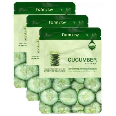 Набор тканевых масок с экстрактом огурца FarmStay CUCUMBER VISIBLE DIFFERENCE MASK SHEET 23мл*3: фото