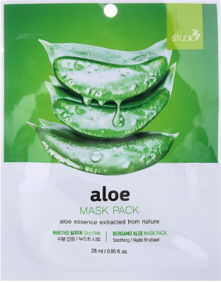 Тканевая маска для лица с экстрактом алоэ Bergamo Aloe Mask Pack 28 мл: фото