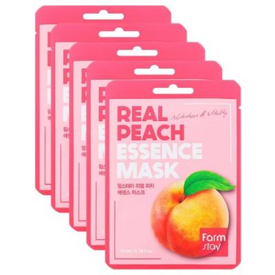 Набор тканевых масок с экстрактом персика FARMSTAY REAL PEACH ESSENCE MASK 23мл*5: фото